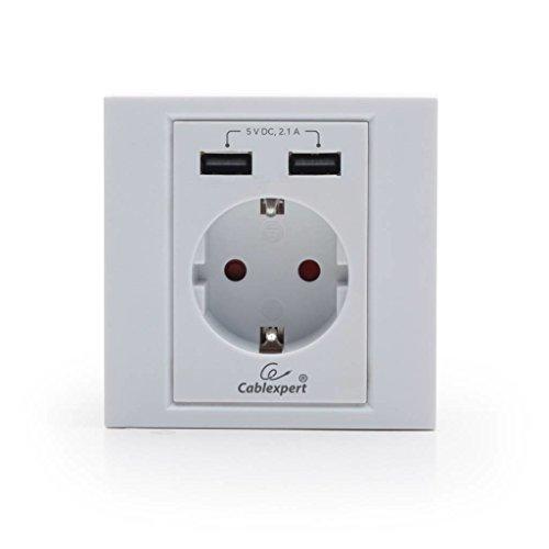 Gembird MWS-ACUSB2-01 2 x USB + CEE 7/3 Blanco - Toma de Corriente (2 x USB + CEE 7/3, CEE 7/4, Blanco, 16 A, 2,1 A, 5 V)