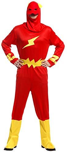 Lovelegis Disfraz Flash - Disfraz - Carnaval - Halloween - superhéroe - Color Rojo - Adultos - Hombre - niño - Talla única - Idea de Regalo para Navidad y cumpleaños