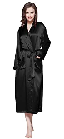 Women 22 Momme Classic Full Length Silk Robe 100% Pure Silk By LilySilk - S Black