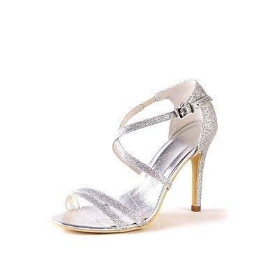 Wuyulunbi@ Scarpe donna Glitter frizzante primavera estate della pompa base scarpe matrimonio Stiletto Heel Peep toe scintillanti di glitter per la festa di nozze & Argento