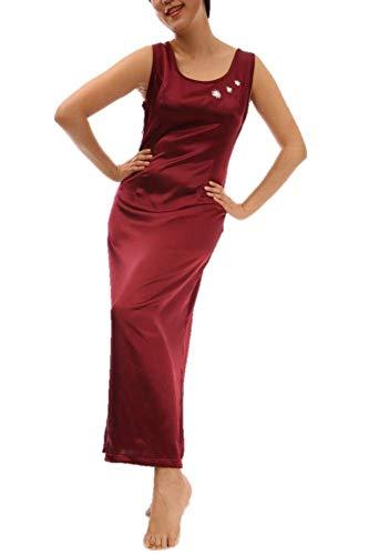 Damen Satin Lang Luxus Nachtwäsche Sexy Nachtkleid Nachthemd Negligee Schlafanzug Pyjamas Sleepwear Sleepshirt Nightdress Handstickerei Hand Embroidery (M, Rot) - Luxus Nachtwäsche