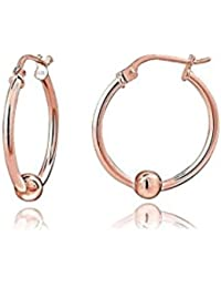 Rose Gold Tone Over Sterling Silver Bead Round Hoop Earrings, 12MM