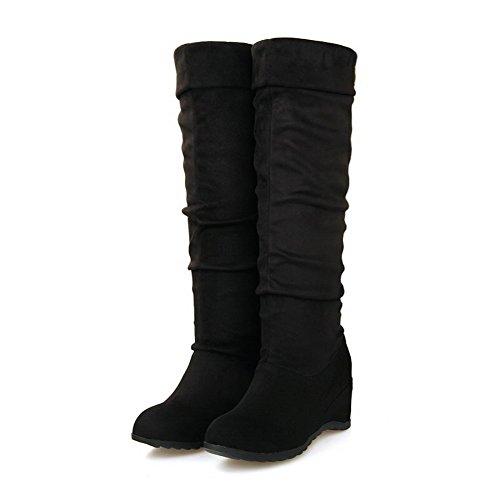AllhqFashion Damen Hoch-Spitze Eingelegt Ziehen Auf Mittler Absatz Stiefel mit Metallisch Schwarz
