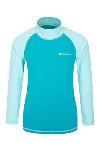 Mountain Warehouse Camiseta térmica para niños - Camiseta térmica con protección UV, Camiseta térmica de Manga Larga para niños, Costuras Planas Verde Agua 3-4 Años
