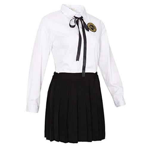 Mädchen Damen Schule Kostüm - IPOTCH Damen Mädchen Schulmädchen-Stil Kostüme Schuluniform Set(Schwarz + Weiß) - Größe M