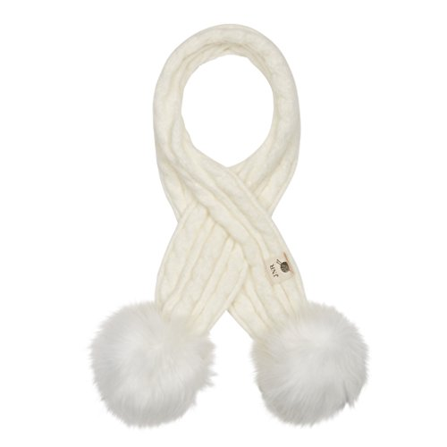 Aran Traditions Kids Cream White Cable Knit Faux Fur Double Pom Pom Scarf 3-6 Years - Cream Cable Knit