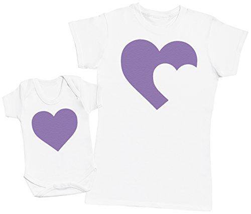 Zarlivia Clothing Heart Baby and Mother - Ensemble Mère Bébé Cadeau - Femme T Shirt & bébé Bodys - Blanc - S & 3-6 Mois