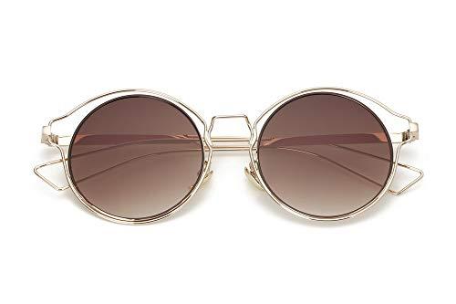 LKVNHP Neue Art undWeise Retro Frauen -runde Metallsonnenbrille UV400 Schutz Lunette Gold -Cat Eye Hohle Damen -Sonnenbrillen Männerbraun Objektiv
