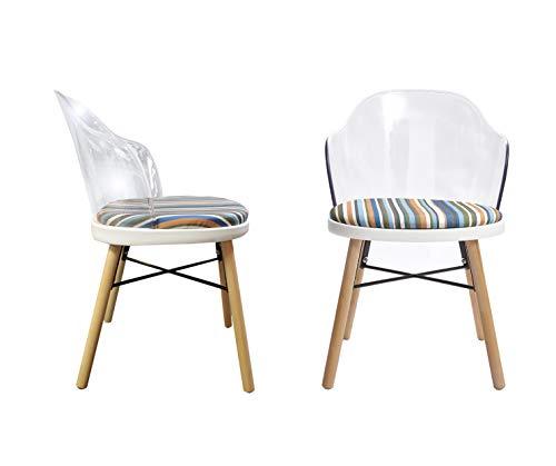 Meubletmoi Chaises Moderne Dossier Transparent - Tissu Rayures colorées Confortable - piétement Bois et métal - Design Contemporain - Lot de 2 - Stripe