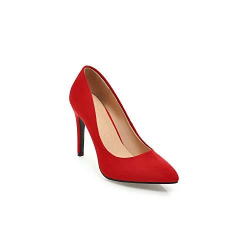 Drem-wardrobe High Heels Shoes Décolleté da Donna Sottili con Tacco Alto a Punta, Floccato, per Matrimonio, Taglia 34-43, (Red 8cm), 43 EU