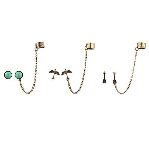 LUX accesorios Burnish oro Boho Ear Cuff multi e Arring ((, 3unidades)