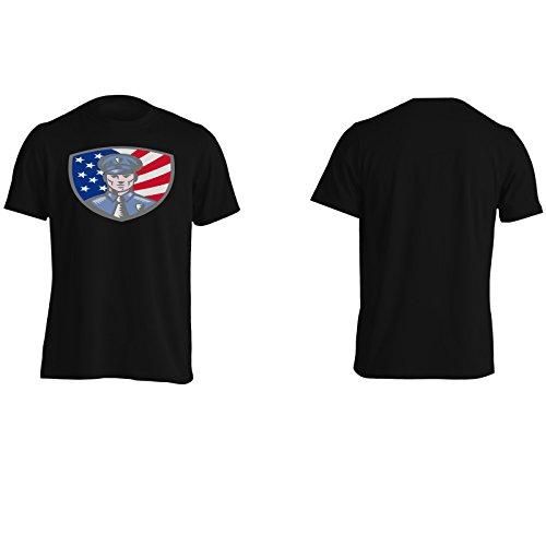 Poliziotto Usa America Arte Divertente Novità Uomo T-shirt a627m Black