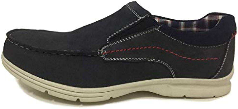 Zapato Hombre Piel Ante en Color Azul Marino si Cordones