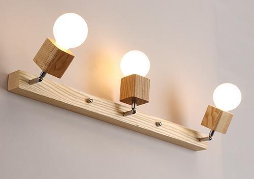 FWEF in legno lampada specchio Nordic Faro semplice bagno specchio lampada bagno lampada make-up lampada da parete led specchio armadio luce vero legno medicazione lampada da tavolo (72 * 24cm)
