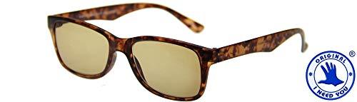 I Need You Sonnenbrille Sunrise mit Diottria: +2, Tartarugato Brille für Alltag, Tag und Tage, mit UV-Schutz 100% Schutz