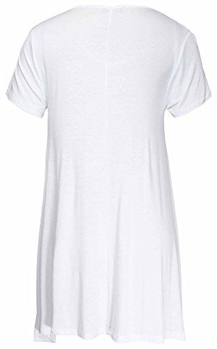 Da Donna Nuovo Lustrini Rolling Stones Labbra Manica Corta Ladies Scollatura Scoop Asimmettrico Forma Elasticizzato Top lungo T-Shirt Taglie Forti Bianco