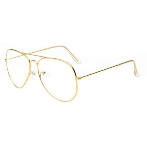 Damen Herren Klassisch Sonnenbrille,Ronamick Clear Lens Gläser Metall Spektakel Rahmen Brillen Mädchen (Gold)