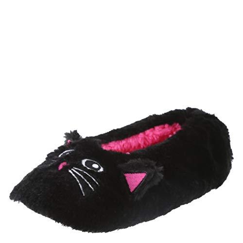 Fuzzy Babba Damen Hausschuhe Socken Felltier, Schwarz (Black Cat with Ears), 34/36 EU -