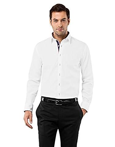 Vincenzo Boretti Herren Hemd Regular Fit Bügelfrei Uni mit Kontrast,weiß/weinrot,45/46