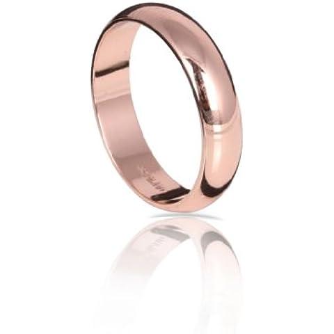 Fashion Plaza R334 - Anello a fascia, spessore 4 mm, colore oro rosa