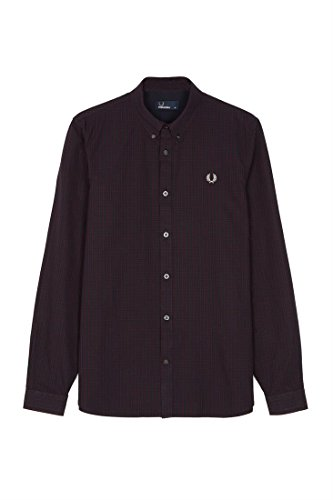 Red Gingham Check Shirt (Fred Perry Herren Basketweave Gingham Check shirt Mahagoni L)