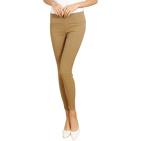 SaiDeng Mujer Casual Sin Costura Alto Cintura Flaco Pantalón