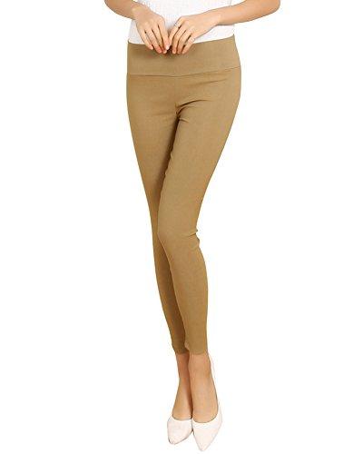 SaiDeng Femmes Casual Sans Couture Taille Haute Maigre Pantalon Kaki L