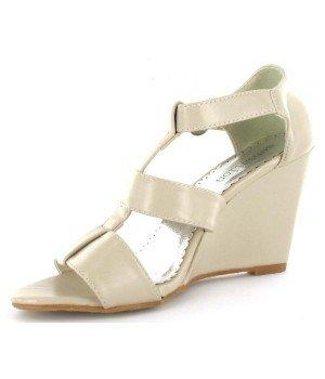 Chaussure Bas Prix - Sandales femme à talons compensés beige - 1431-3A-13 Beige
