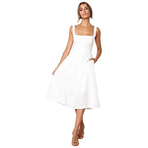 YiYLunneo Vestido Mujer Casual Vestido Ajustado sin Mangas Moda Vintage Elegante Sólido Color con Bolsillo Midi Skirt Vendaje Vestir de Cóctel Slim Fit Vestidos Noche Fiesta Playa