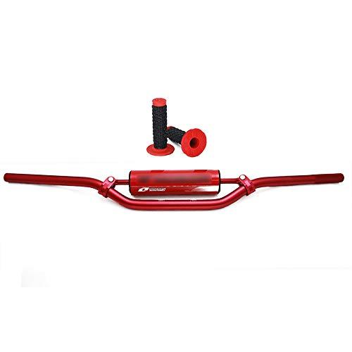 JFG RACING 22 mm rote Lenker - Universal Dirt Bike Lenker Lenker Lenker Lenker Cross Bar Bar mit Polstern Set für Honda CR125 CR250 CR500 CRF250R CRF450X (Honda Cr125)