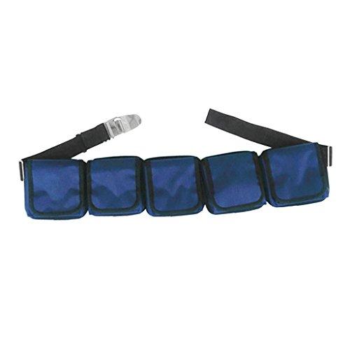 MagiDeal Tauchgürtel Set mit Edelstahl Gürtelschnalle, Kunststoff Schnalle, Taschengewicht Gürtel Bleitasche - mit 5 Taschen
