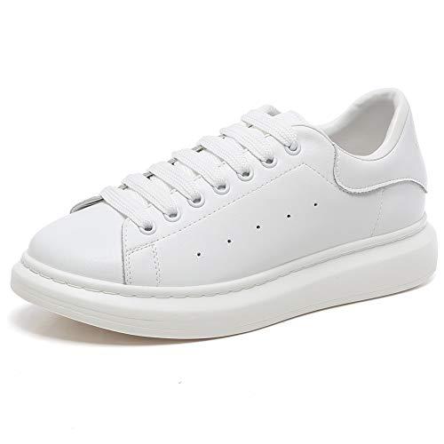 2a18f89697ce YORWOR Baskets Mode Femme Hommes Sneakers Plateforme Chaussures à Lacets  Classics Loisir Confort Casual Trainers Blanc EU 42.5-43