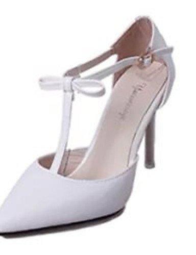 GS~LY Damen-High Heels-Lässig-PU-Stöckelabsatz-Absätze-Rosa / Weiß white-us8 / eu39 / uk6 / cn39