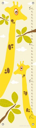Oopsy Daisy Googly Eyed Giraffe Cream by Finny and Zook Growth Charts, 12 by 42-Inch