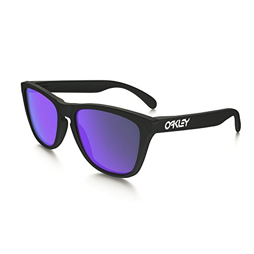Oakley Frogskin Matte Black Sunglasses with Violet Iridium Lens 24-298