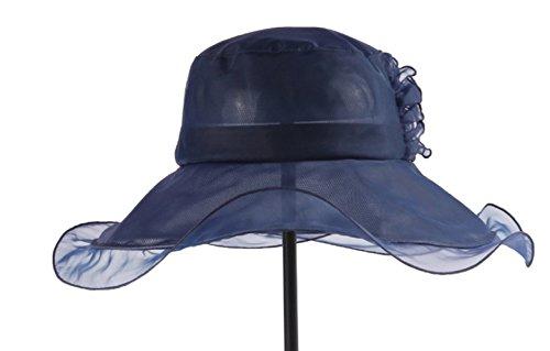 Mme été Chapeau De Soleil En Plein Air Le Dôme De Chapeau De Tourisme Vacances Chapeau à Large Bord Chapeau De Soie DarkBlue
