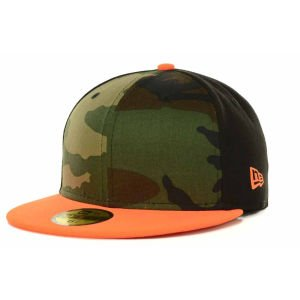 New Era Orange Woodland Camo Flame Black Tritone Basic 59Fifty Fitted Baseball Cap 7 1/4 (Flame Camo Orange)