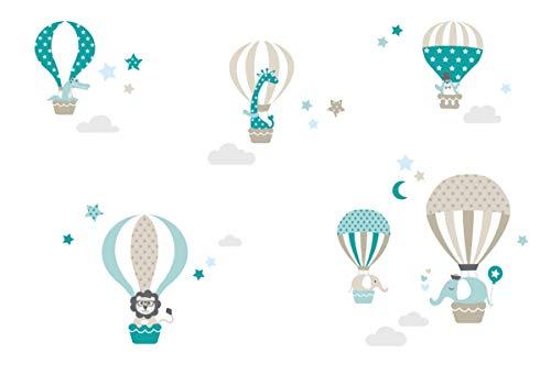 lovely label Stickers muraux pour Chambre Enfant Lot de 33, montgolfière & Animaux - Autocollants...