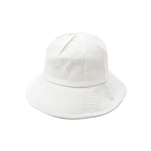 LIXUE Simple Couleur Unie pêcheur Chapeau Japonais Casual Voyage Sauvage Protection Solaire Parasol Chapeau Hommes et Femmes (Color : White, Size : M(56-58cm))
