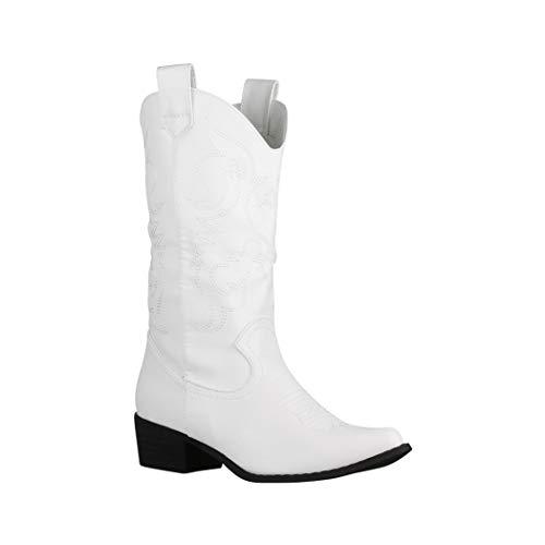 Elara Damen Stiefel | Cowboystiefel mit Blockabsatz | Lederoptik | Chunkyrayan 888 White-40