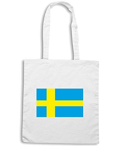 T-Shirtshock - Borsa Shopping TM0247 Swedish flag flag Bianco