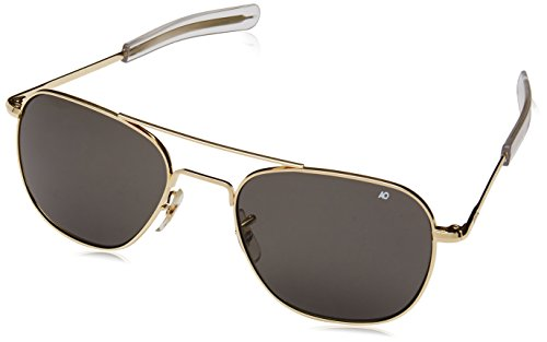AO Original Pilot 55mm Gold Frame with Bayonet Temples and True Color Gray Polarized Glass Lens by AO Eyewear