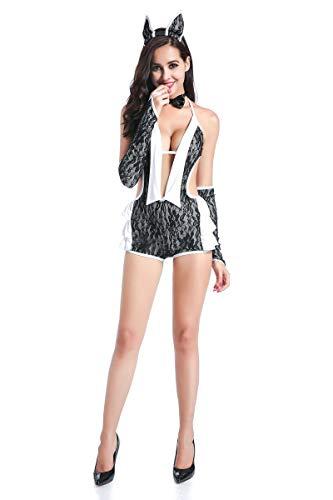 FHSIANN Sexy Donne Adulte Coniglietto Costume da Donna Erotica Costume da Cameriera Cosplay Senza ManicheTutaHalloween Porno Scollo all'Americana Vestito per Ragazze