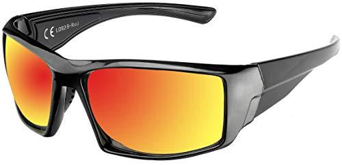 La Optica B.L.M. UV400 CAT 3 CE Unisex Damen Herren Sonnenbrille Sport - Einzelpack Glänzend Schwarz (Gläser: Rot verspiegelt)_LOS2 B-Red