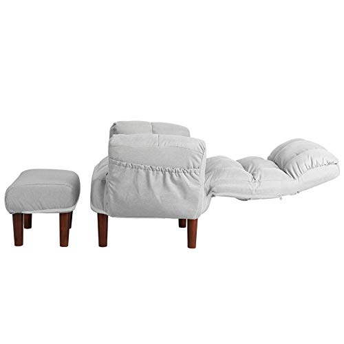 CO-Z Relaxsessel mit Hocker Fernsehsessel TV Sessel Wohnzimmersessel Sessel Sitzhocker Beinablage Relaxstuhl 5 Einstellungen Liegefunktion Faltbar Folding Lazy Sofa Bed Sleeper Chair