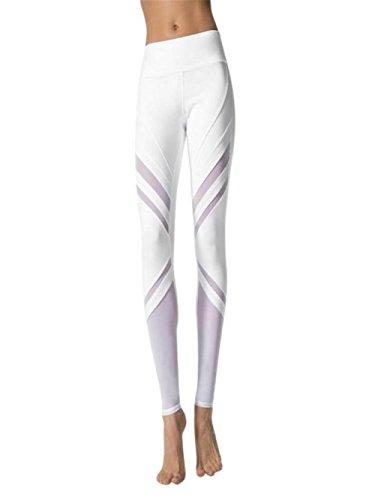 Damen Hosen Sommer LHWY Frauen Hohe Taille Leggings Sport Mode Netzhosen Skinny Gym Yoga Running Fitness Hosen Athletic Hosen Mesh Weiß (L, White) - Taille Unterstützung Strumpfhosen