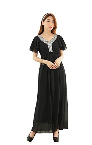 Molly Aux Femmes Désinvolte V Cou Manche Courte Longue Robe Noir