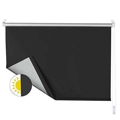 OBdeco - Estor Opaco Enrollable (con Revestimiento de Plata, fijación sin Agujeros, 70 x 160 cm), Color Negro