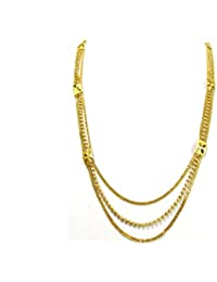 Shree Mauli Creation Golden Alloy 3 Line Golden Ball And Chain Necklace For Women SMCN993