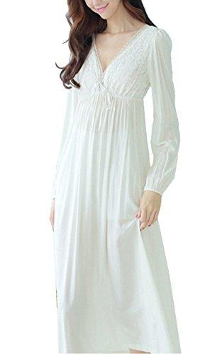 Cheerlife Damen Nachthemd Baumwolle Langarm V-Ausschnitt Spitze Nachtkleid Schlafkleid Nachtwäsche Lang Vintage M Weiß (Fantastische Vintage-nachthemd)